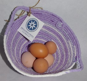 Handmade Fabric Coiled Egg Basket at 1840 Farm