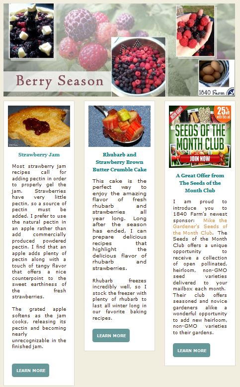 The 1840 Farm Community Newsletter - Berry Season