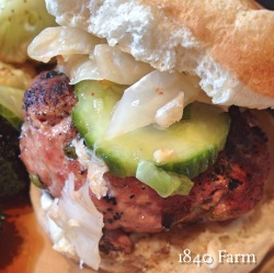 Burger topped with Kimchi and Pickles at 1840 Farm