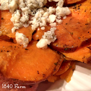 Sweet Potatoes Anna with Blue Cheese