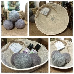 Wool Dryer Ball Heather Grey Collage