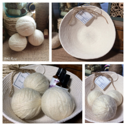 Wool Dryer Ball Natural Collage