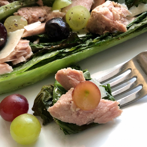 Grilled Romaine Salad With Tuna Pickled Grapes And Quick Vinaigrette